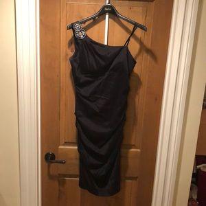 One shoulder black dress, ruched bodice worn once